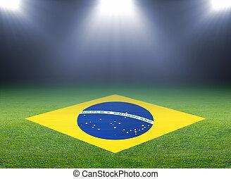 zöld, futball terep, brazil lobogó