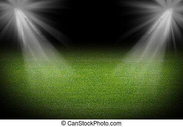 zöld, futball terep, fényes, reflektorfény, megvilágít, stadion