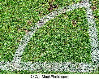 zöld, futball terep, szögletrúgás, alapján, tető kilátás