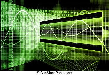 zöld, futuristic, ügy, diagram
