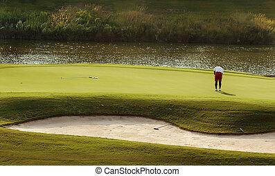 zöld, golfjátékos, feltétel