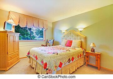 zöld, hálószoba, noha, ország, ágynemű