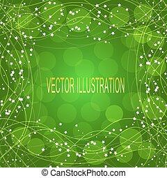 zöld háttér, noha, border., vektor, illustration.