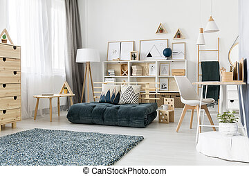 zöld, heccel, szoba, belső