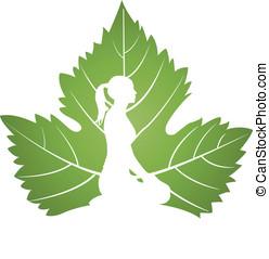 zöld, jóga, levél növényen, jel
