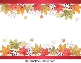 zöld, juharfa, háttér, ősz