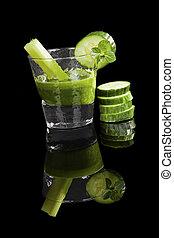 zöld, juice.