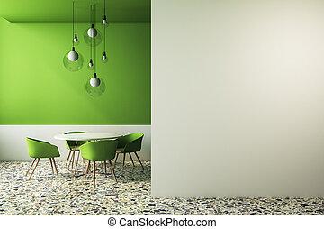 zöld, kávéház, modern, copyspace