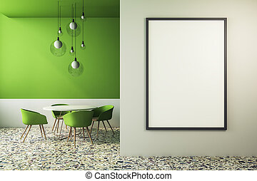 zöld, kávéház, modern, poszter