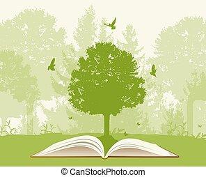 zöld, könyv, nyílik, fa