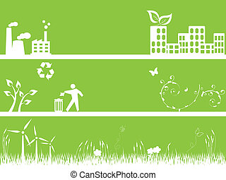 zöld, környezet, és, város