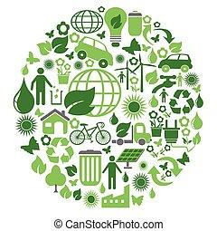 zöld, karika, eco