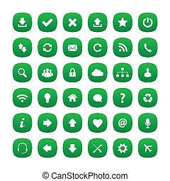 zöld, kerek, derékszögben, ikonok