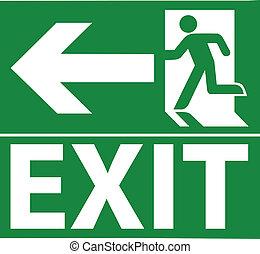 zöld, kijárat, szükségállapot cégtábla