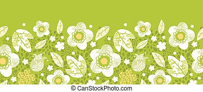 zöld kimono, florals, horizontális, seamless, motívum, határ