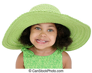 zöld, leány, kalap, gyermek