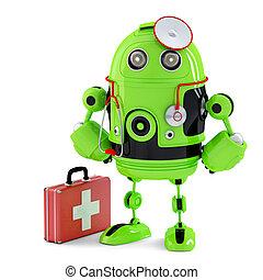 zöld, medikus, robot., technológia, concept., isolated., tartalmaz, nyiradék út