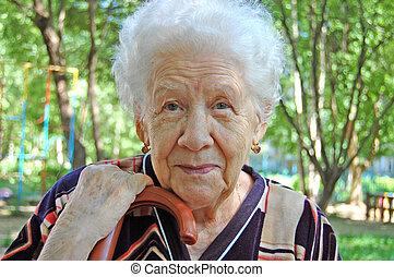 zöld, nő, öreg, háttér, portré