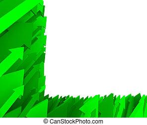zöld, -, nyíl, háttér, parciális