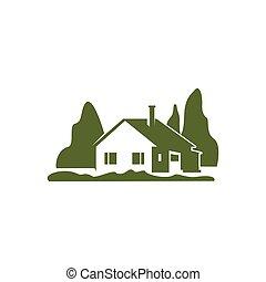 zöld, nyaraló, épület, kert, bitófák, vektor, ikon