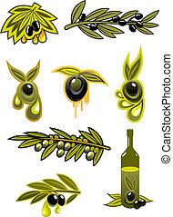 zöld, olajbogyó, olaj, fekete