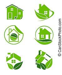 zöld, otthon, ikonok
