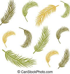 zöld, pálma, seamless, háttér
