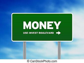 zöld pénz, autóút cégtábla