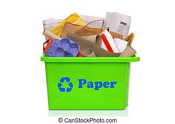 zöld, papír újra hasznosít, tartó, elszigetelt, white