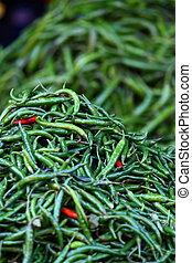 zöld, paprica, alatt, hagyományos, növényi, piac, alatt, india.