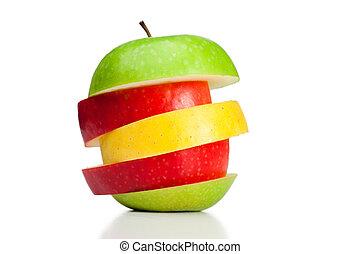 zöld, piros sárga, kombináció, alma