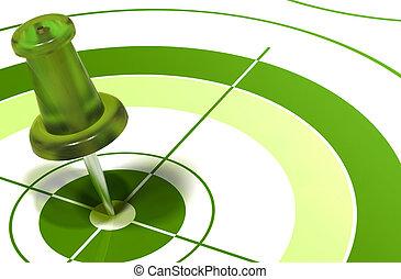 zöld, pushpin, céltábla