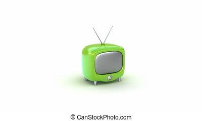 zöld, retro, tv, set., elszigetelt
