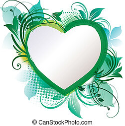 zöld, szív, virágos, háttér