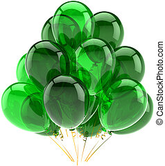 zöld, születésnap, léggömb, áttetsző