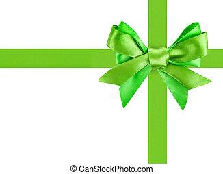 zöld, szalag, íj, szeret, egy, tehetség