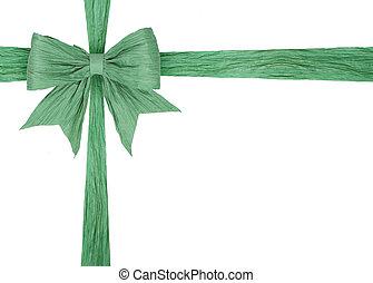 zöld, szalag, noha, íj, white
