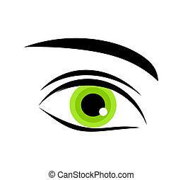 zöld szem, ikon