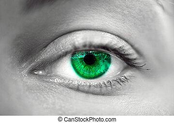 zöld szem, női, makro