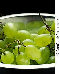 zöld, tál, szőlő