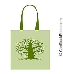 zöld, táska, noha, nagy fa, helyett, -e, tervezés