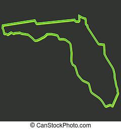 zöld térkép, állam, neon, florida