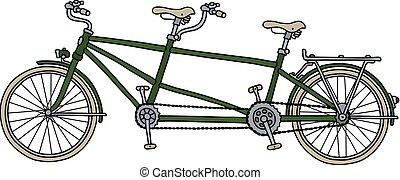 zöld, tandem bicikli