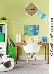zöld, tanul, szoba