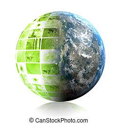 zöld, teljes ügy, technológia, elvont