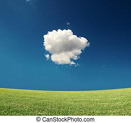 zöld terep, noha, egy, felhő, alatt, a, ég