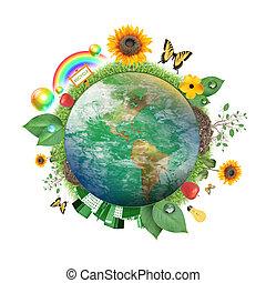 zöld, természet, földdel feltölt, ikon