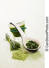 zöld, természetes, superfood.