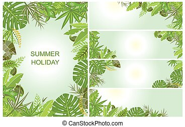 zöld, tropikus, háttér