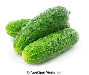 zöld, uborka, növényi, gyümölcs, elszigetelt